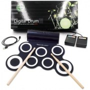 Digital Portable Musical Roll-up Electronic Drum Pad Set with Built in Speaker - Black
