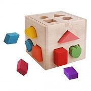 Lexitek Imagination Generation Wooden Shape Sorter Cognitive and Matching Wooden Toys 13 Hole Cube for Shape Sorting...