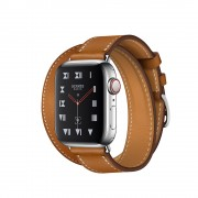 Часы Apple Watch Hermès Series 4 GPS + Cellular 40mm Stainless Steel Case with Fauve Barenia Leather Double Tour MU712
