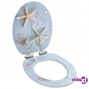 vidaXL Toaletna daska s mekim zatvaranjem MDF s uzorkom morskih zvijezda