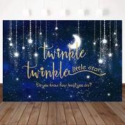 Zhyxia Zhy Twinkle Twinkle Little Satr Telón de Fondo Shining Star Baby Shower Party Decoration 7X5ft Viny Bule Star Sky Baby Shower Telón de Fondo Party Studio Props
