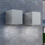 vidaXL Външни LED стенни прожектори, квадратни, насочени надолу, 2 бр.