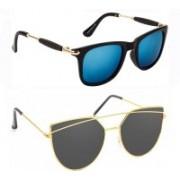 Elgator Wayfarer, Over-sized Sunglasses(Blue, Black)