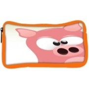 Snoogg Eco Friendly Canvas Cute Pig Character Student Pen Pencil Case Coin Purse Pouch Cosmetic Makeup Bag (ORANGE) Pouch(Multicolor)