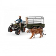 SET FIGURINE SCHLEICH - PADURAR TRANSPORTAND UN TIGRU CU ATV-UL - SL42351 - SCHLEICH