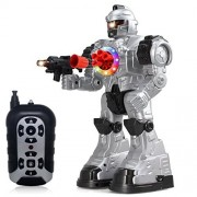 NMIT Rc Remote Control Robot - Talking Kids Toy with Realistic Fighting Sound and Lights Walking, Dancing, Talking, Shooting Shoots Missile, Walks, Slides, Talks Color Vary Ã'