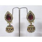 Pink Tilak stone gota earring