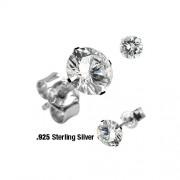 Zilveren oorbellen rond CZ steen