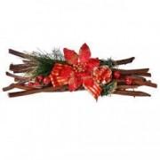 Crenguta decorativa craciunita rosie ornamente Craciun