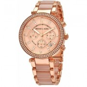 Parker Pave Rose Goldtone Stainless Steel Chronograph Bracelet Watch - Pink - Michael Kors Watches