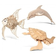 Puzzled Angel Fish, Bottle Nose Dolphin And Green Turtle Wooden 3 D Puzzle Construction Kit