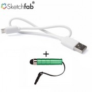 Sketchfab Data Charging Cable For Smartphone V8 Cable High Sensitive Mini Stylus Pen - Multi Color