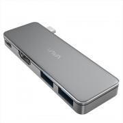 Hub USB C, VAVA VA-UC003 3in1 Silver, 2x USB 3.0, Rezolutie 4K HDMI, Transfer Rapid, LED Indicator, USB-C Port de Incarcare,