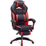Scaun gaming cu suport pentru picioare/Scaun birou Design ergonomic tetiera reglabila suport lombar Negru-Rosu