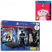 Конзола Sony PlayStation 4 Slim 1TB Черна + Игра The last of US + Игра Uncharted 4 + Игра Ratchet Clank+Игра FIFA 20 за Playstation 4 - PS4