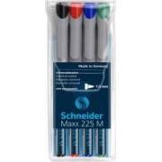 Universal non-permanent marker SCHNEIDER Maxx 225 M varf 1mm 4 culori-set - N.R.A.V