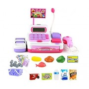 Toy Cash Register Electronic Calculator Cashier Playset Pretend Play Set Supermarket Checkout Toy for Kids 36 Pieces 3 Ages UP