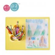 EZPZ Silikonowa mata do zabawy z pojemniczkami 2w1 Flower Play Mat żółta, EUPMY001