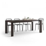 Mobili Fiver Mesa de cocina extensible, modelo Giuditta, color Roble oscuro - Wenguè