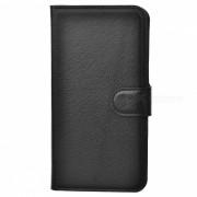 Caja de la PU del patron de Lychee w / Stand Slots / Tarjeta para Huawei P8 - Negro