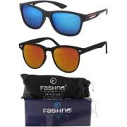 Fashno Combo of Unisex Black Frame Green and Golden Lens Wayfarer U.V Protected Sunglasses(FCMSGN27)