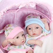 "iCradle 10"" 26cm Mini Lifelike Baby Girl and Baby Boy Twins Reborn Doll Full Body Vinyl Silicone Realistic Looking Newborn Twin Dolls Anatomically Correct"