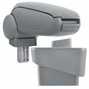 [pro.tec]® Reposabrazos central para Audi A1 (8X, a partir de 2010) - apoyabrazos con compartimento - tapizado - tela - gris