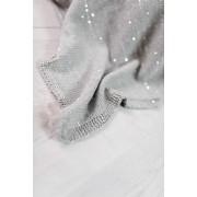 Paturica tricotata din bumbac gri cu paiete