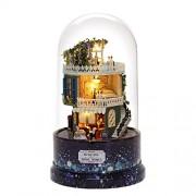 Tradico DIY Glass Ball Doll House Star Dreams Miniature Furniture Kit Rotary Music LED Light Kids Gift