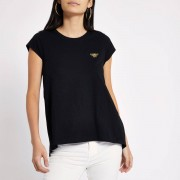 River Island Womens Black wasp embroidered T-shirt (Size 8)