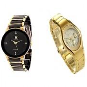 IIK Collection Golden-Black Men And Rosra Gold Ledish Watches For Men Women
