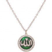 MissMister Silver Plated Green Enamel CZ Allah Word in Urdu Spiritual Muslim Round Chain Pendant Locket Necklace Jewellery for Men and Women