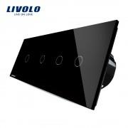 Intrerupator LIVOLO cu touch din sticla cu 4 intrerupatoare simple, negru