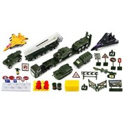 Battle of Valor Army 40 Piece Mini Diecast Childrens Kids Toy Vehicle Playset w/ Variety of Vehicles, Accessories