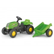 Tractor cu pedale si remorca Rolly Toys 012169 Verde