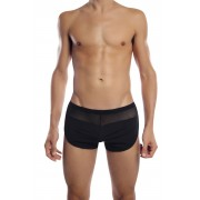 Petit-Q Transparent Panel Curved Side Boxer Brief Underwear Black Pq17