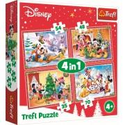 Puzzle pentru copii - Mickey Mouse sarbatorind Craciunul 4 in 1