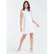 Guess Jurk Detail Ruche - Wit - Size: Extra Small