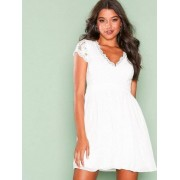 NLY One Scallop Cup Dress Skater Dresses Vit