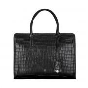 Schwarze Maxwell-Scott Damen Business Handtasche in Croco Optik - Enrica Croco - Schultertasche, Umhängetasche, Shopper, Henkeltasche