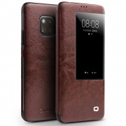 QIALINO for Huawei Mate 20 Pro View Window Cowhide Leather Smart Cover - Brown