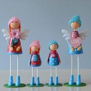 Muñecas De Madera Decoración De Mesa Artes Parado Familia - Azul Y Rojo