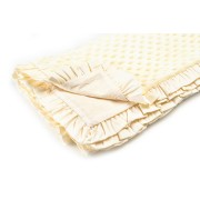 Paturica soft botez, cu volanase, crem, 80 x 100 cm