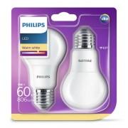 phl-e27-ww-60w-2p - Philips LED žarulja, E27, A60, topla, 8W, mat. 2x