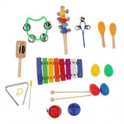 Segolike Kids Musical Instruments 10 Pcs Rhythm Band Instruments Percussion Set for Children with Xylophone Toy Zippered Carrying Bag