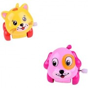 Cute Pack of 2 Mini Dog and Cat Friction Powered Moving Wind Up Chain Toy - VPA-Dog-Cat-Wind-Up