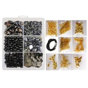 eshoppee complete set of jewellery jewelery making art and craft diy kit with glass beads, seed beads, sequins sitara, metal fitting includes jump ring, earring, keel,kunda, lobster clasps etc. (black grey)