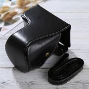 Full Body Camara Caja De Cuero De La PU Bolsa Con Correa Para Sony Ilce-6500 / A6500 (negro)