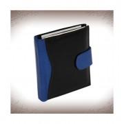 Patentos pénztárca és irattárca valódi bőrből - FEKETE-KÉK - 74074