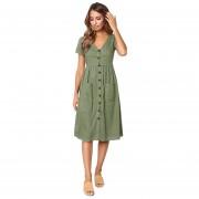 Vestido Casual E-Thinker collar de forma V y botón para mujer - Verde